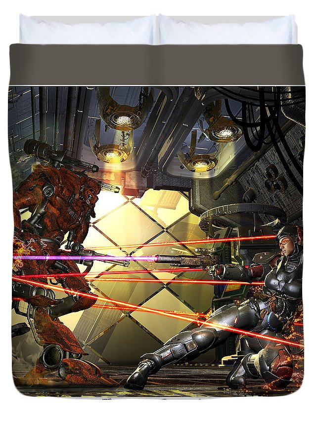 Science Fiction Duvet Cover featuring the digital art The Serrano Connection by Kurt Miller