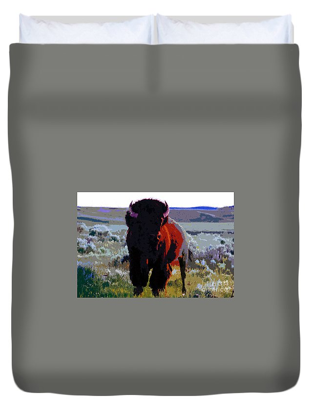 Shaman Duvet Cover featuring the painting The Shamans Buffalo by David Lee Thompson