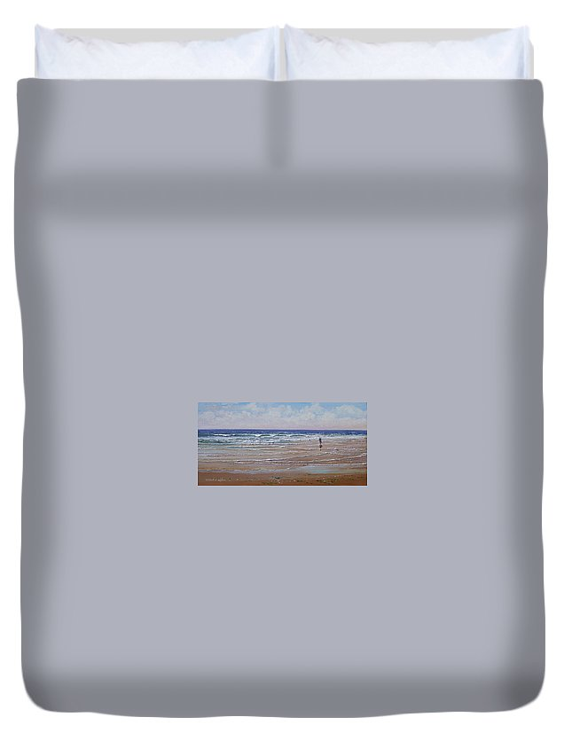 Seascape Duvet Cover featuring the painting The Shell Collector by Frank Wilson