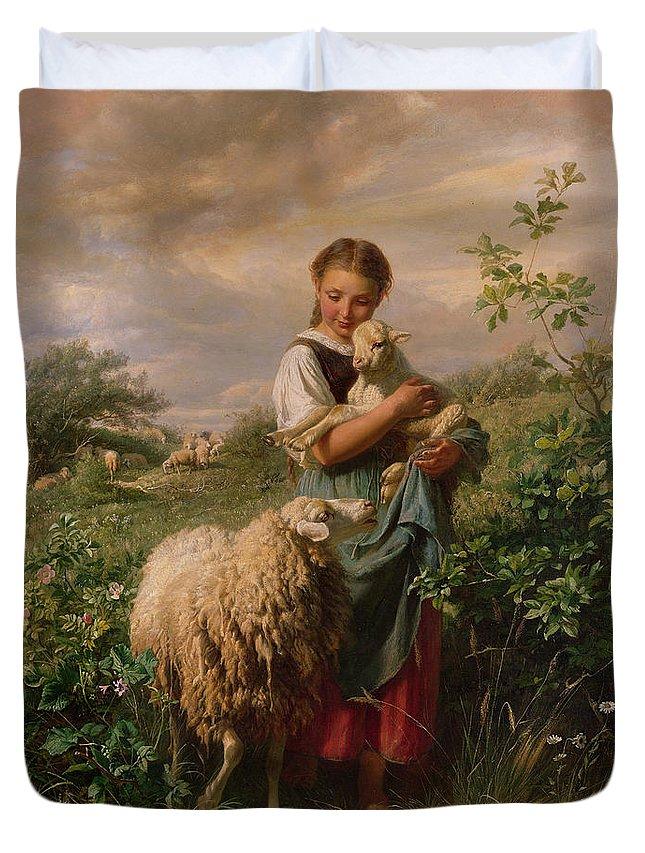 Shepherdess Duvet Cover featuring the painting The Shepherdess by Johann Baptist Hofner