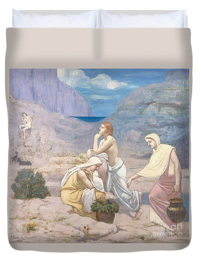 The Shepherds Song Duvet Cover featuring the painting The Shepherd's Song, 1891 by Pierre Puvis de Chavannes