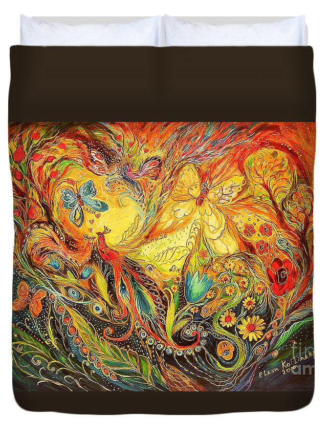 Original Duvet Cover featuring the painting The Shining Of The Summer by Elena Kotliarker