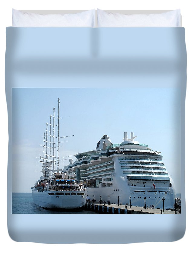 Wind Song Duvet Cover featuring the photograph The Ships Are In by Ian MacDonald