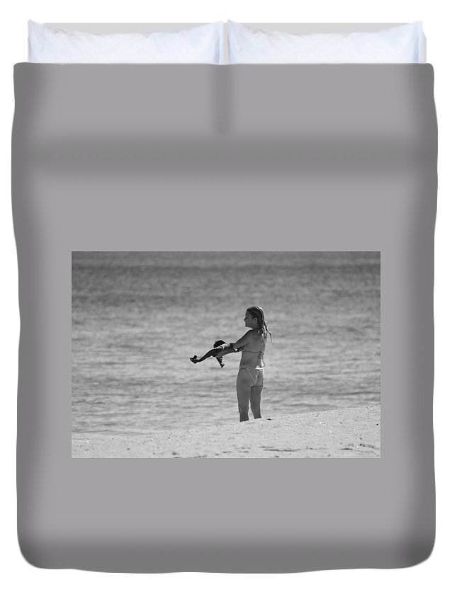 Black And White Duvet Cover featuring the photograph The Shirt by Rob Hans