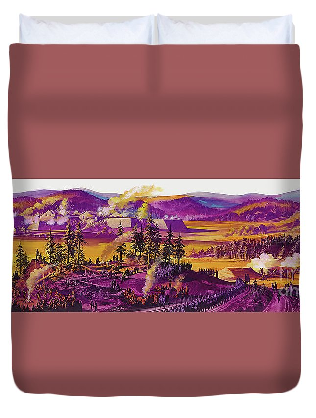 Under Siege Duvet Cover featuring the painting The Siege Of Fort William Henry 1757 by Ron Embleton