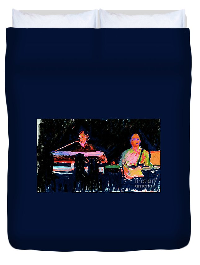 Musical Painting Duvet Cover featuring the painting The Simpson Brothers by Candace Lovely