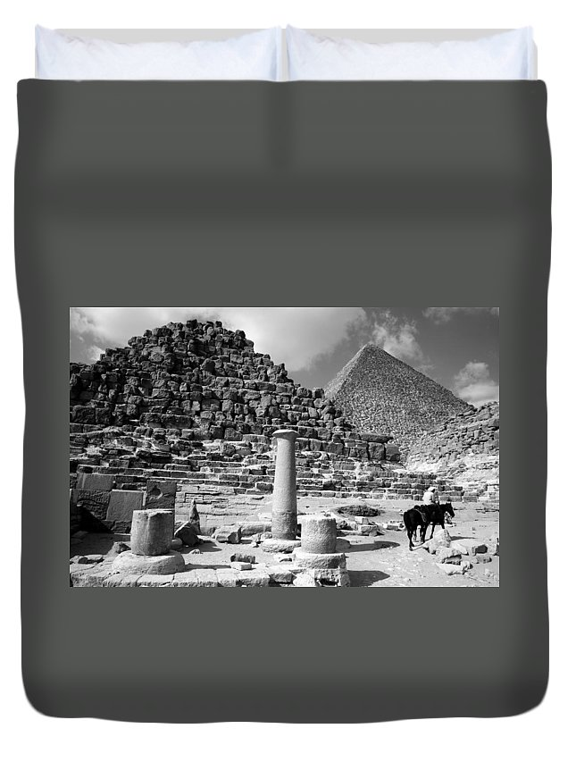 single Column Duvet Cover featuring the photograph The Single Column by Donna Corless