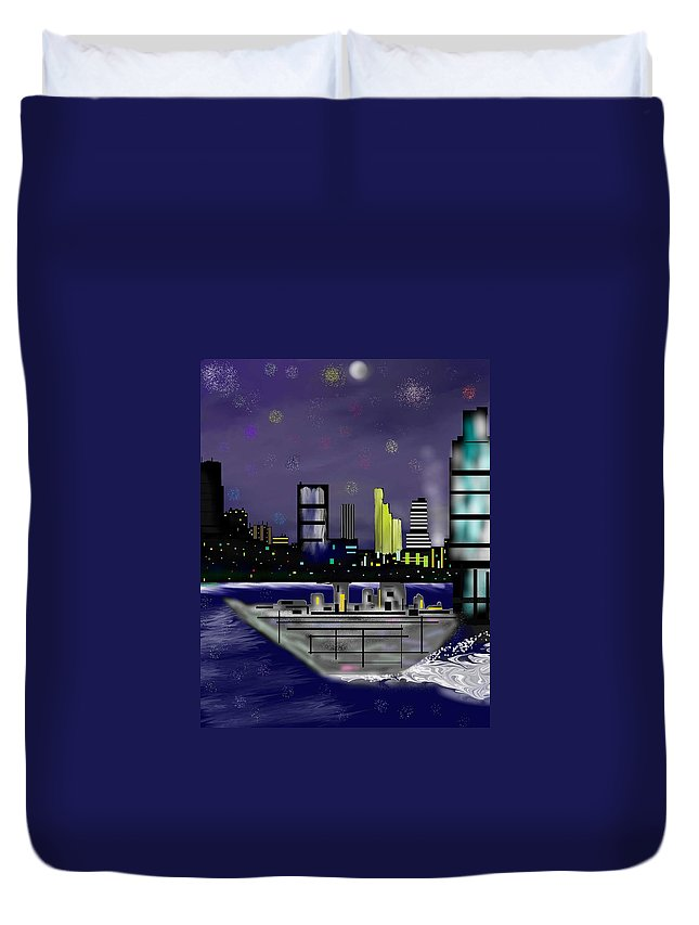 Cityscapes Duvet Cover featuring the digital art The Sky Is The Limit by Abel Padilla