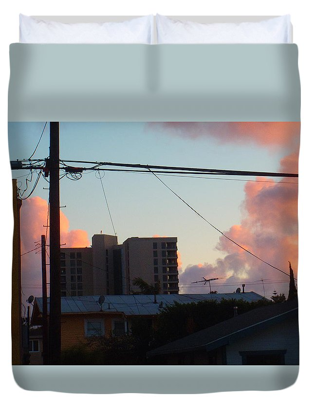 Apartments Duvet Cover featuring the photograph The Sky Over My Apartment by Jaime Paberzis