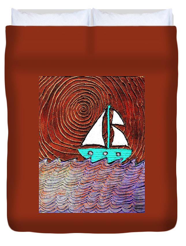 Sailing Duvet Cover featuring the painting The Sky Was Bronze That Night by Wayne Potrafka