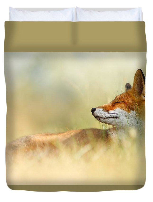 Red Fox Duvet Cover featuring the photograph The Sleeping Beauty - Wild Red Fox by Roeselien Raimond