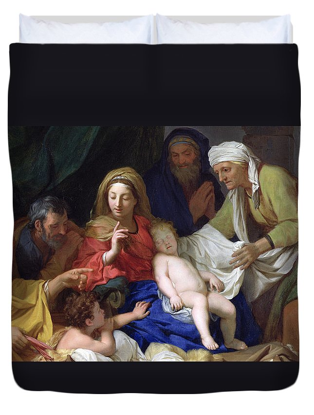 The Sleeping Christ Duvet Cover featuring the painting The Sleeping Christ by Charles Le Brun