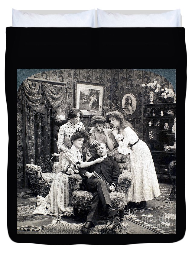 1902 Duvet Cover featuring the photograph The Sleepy Lover, 1902 by Granger
