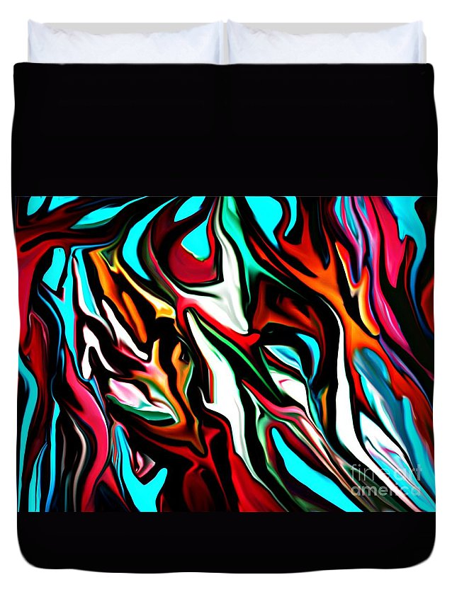 Abstract Duvet Cover featuring the digital art The Smearing Of The Paint 7-02-09 by David Lane