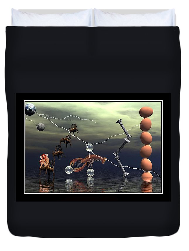 Surreal Art Digital Art Composition Best Picture Canvas Art Eggs Lightning Lobster Water Chairs Columns William Ballester Art Surreal Digital Art Duvet Cover featuring the digital art The Smile by William Ballester