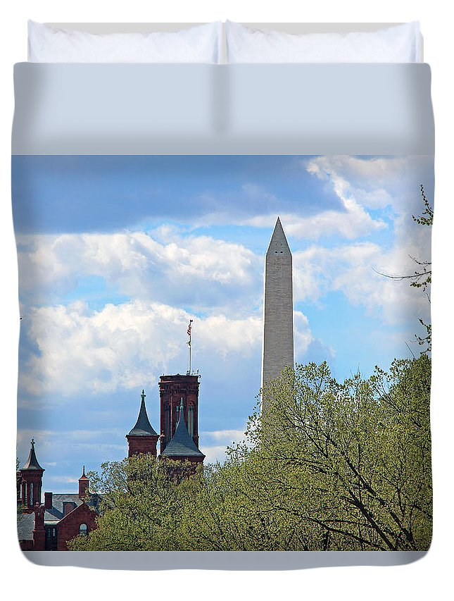Washington Duvet Cover featuring the photograph The Smithsonian Castle And Washington Monument In Green by Cora Wandel