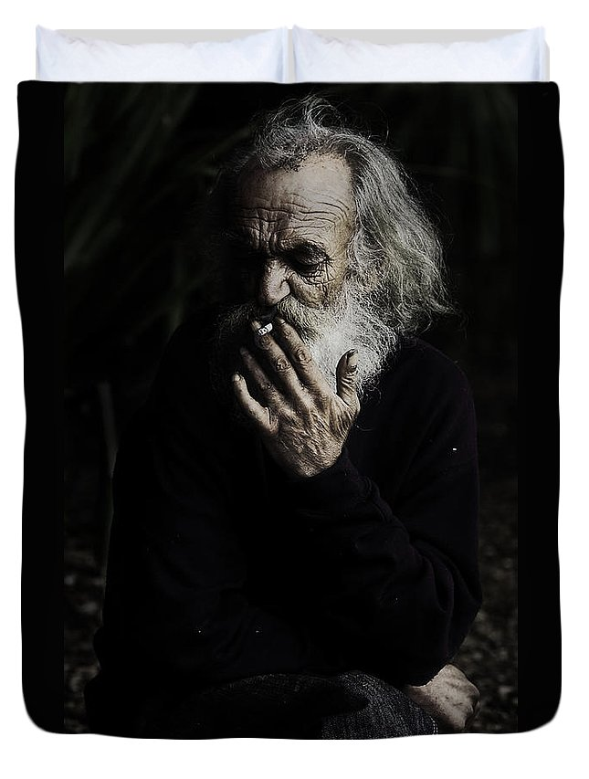 Homeless Male Smoking Smoker Aged Duvet Cover featuring the photograph The Smoker by Sheila Smart Fine Art Photography