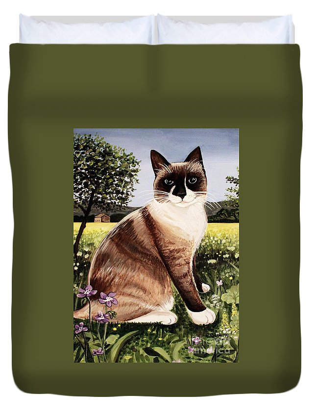 Pet Portrait Duvet Cover featuring the painting The Snowshoe Cat by Elizabeth Robinette Tyndall