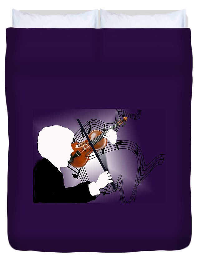 Violin Duvet Cover featuring the digital art The Soloist by Steve Karol