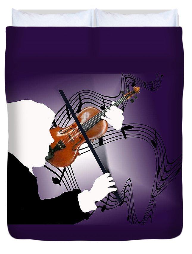 Violin Duvet Cover featuring the digital art The Soloist by Steve Karol