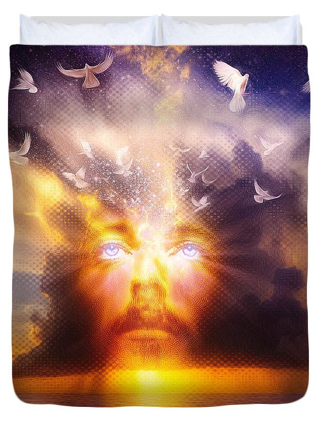 Jesus Duvet Cover featuring the painting The Son by Robby Donaghey