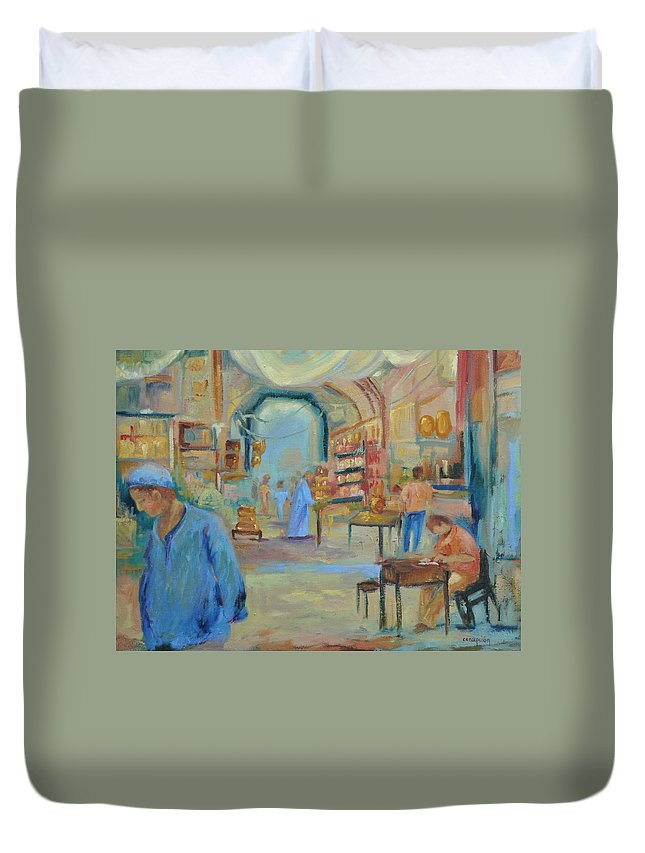 Figurative Duvet Cover featuring the painting The Souk by Ginger Concepcion