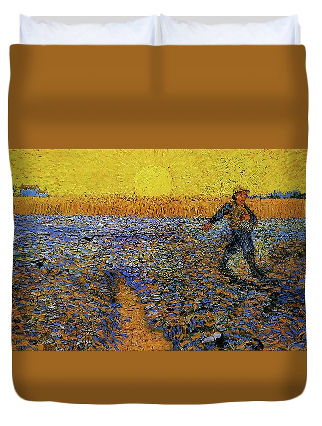 Vincent Van Gogh Duvet Cover featuring the painting The Sower by Van Gogh