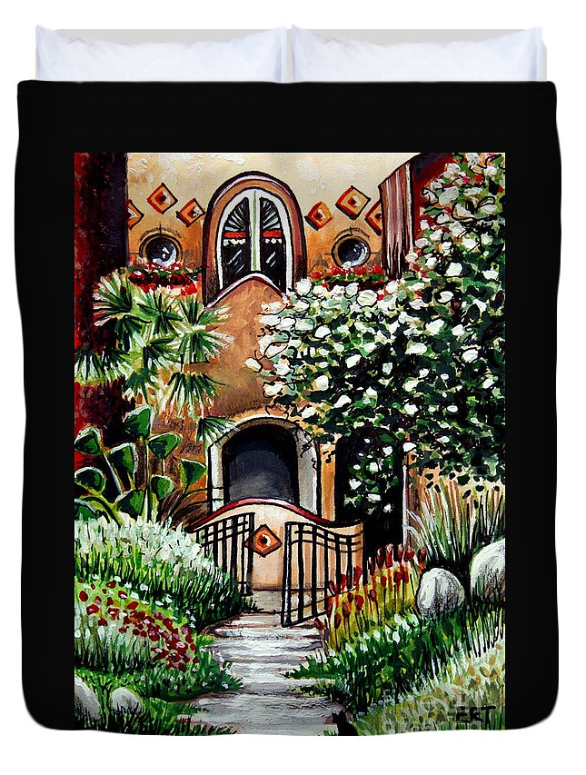 Gardens Duvet Cover featuring the painting The Spanish Gardens by Elizabeth Robinette Tyndall