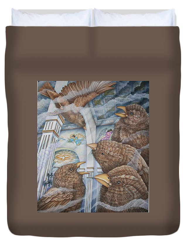 Birds Duvet Cover featuring the painting The Sparrows Of San Elizario by Jeniffer Stapher-Thomas