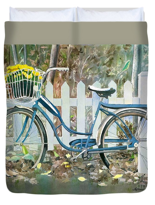 Cyclists Duvet Cover featuring the painting The Special Delivery by LeAnne Sowa