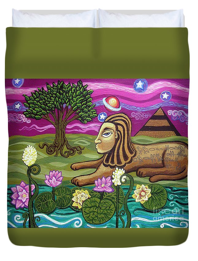 Egypt Duvet Cover featuring the painting The Sphinx by Genevieve Esson