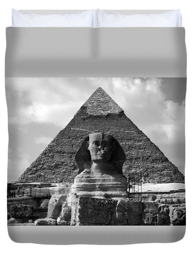 Pyramid Duvet Cover featuring the photograph The Sphynx And The Pyramid by Donna Corless