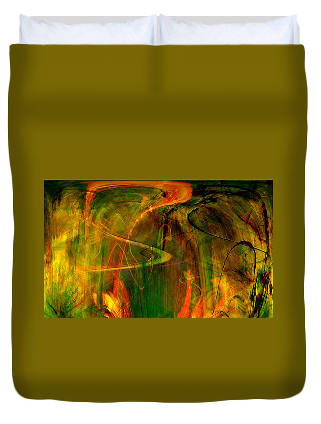 Abstract Digital Abstract Digital Painting Digital Art Design Dark Art Vibrant Art Yellow Duvet Cover featuring the digital art The Spirit Glows by Linda Sannuti