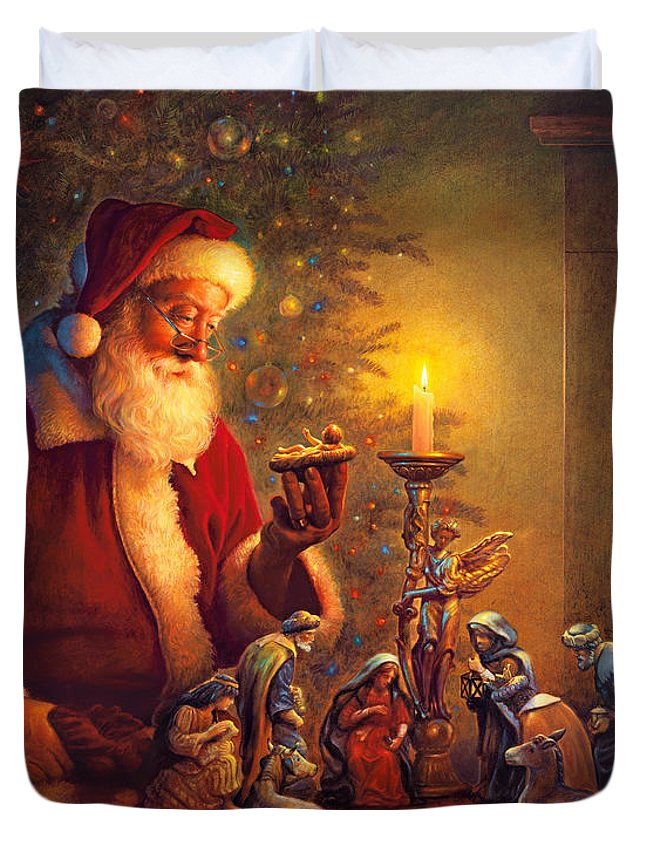 Santa Claus Duvet Cover featuring the painting The Spirit of Christmas by Greg Olsen