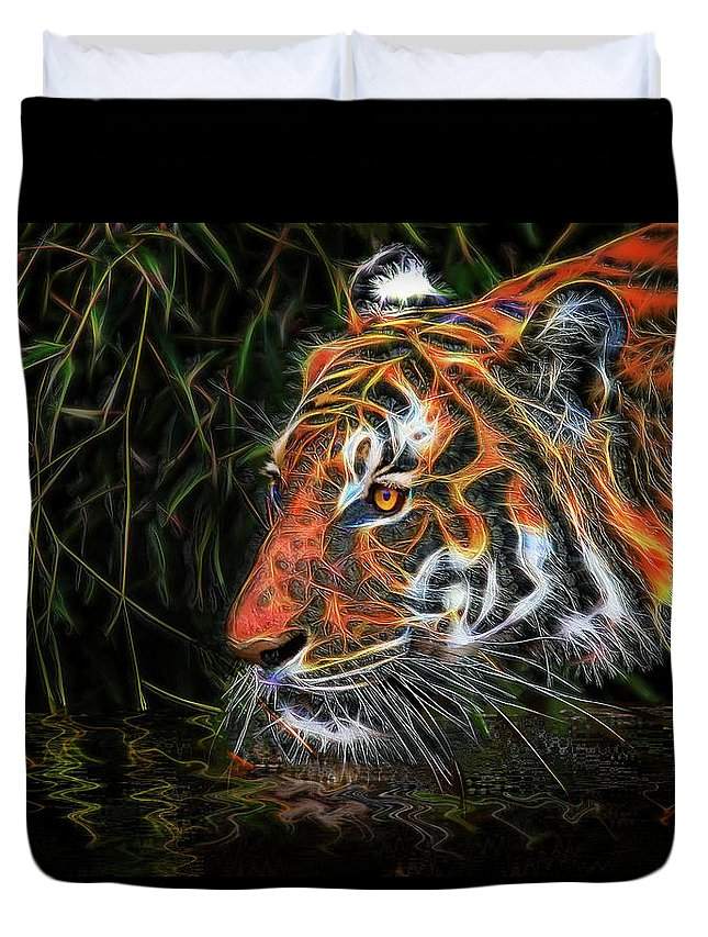 Tiger Duvet Cover featuring the mixed media The Spirit Of The Tiger by Michael Durst