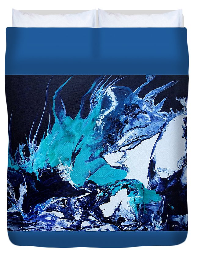 Colourful Duvet Cover featuring the painting The Splash by David Hatton
