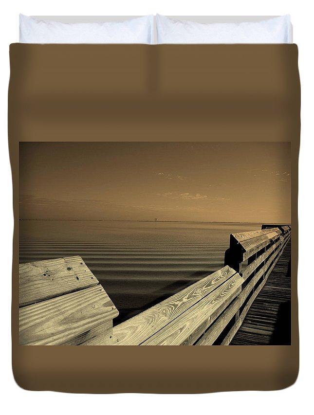 Pier Duvet Cover featuring the photograph The Spot by Susanne Van Hulst