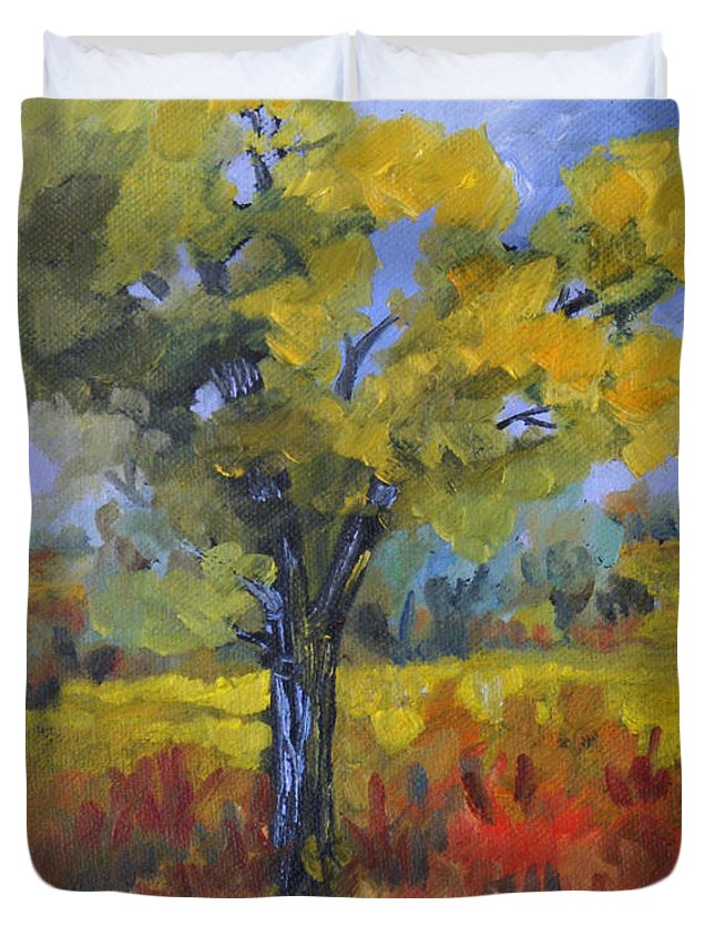 Spring Duvet Cover featuring the painting The Spring Tree by Heather Coen