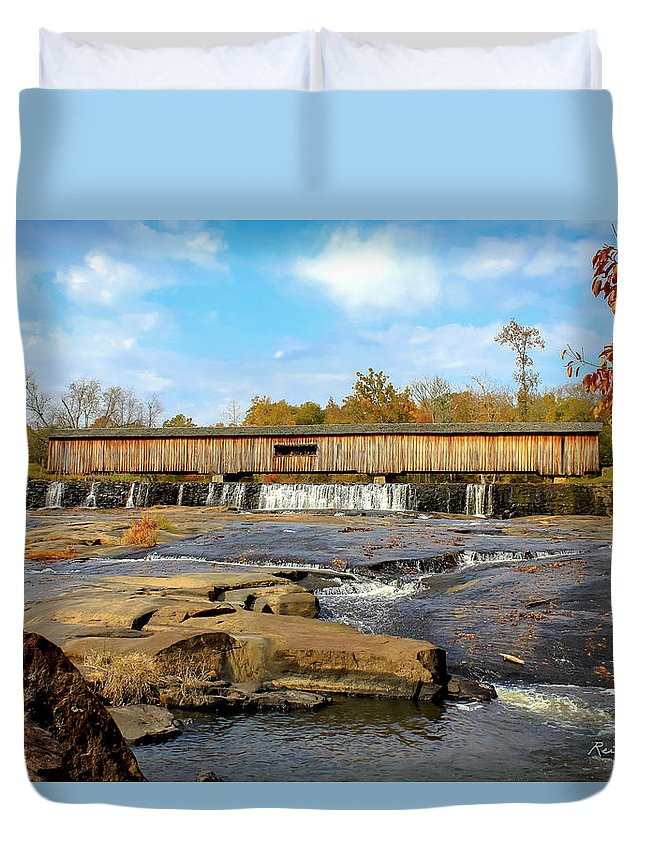 Reid Callaway The Wedding Venue Duvet Cover featuring the photograph The Square Dance Venue Watson Mill Covered Bridge by Reid Callaway
