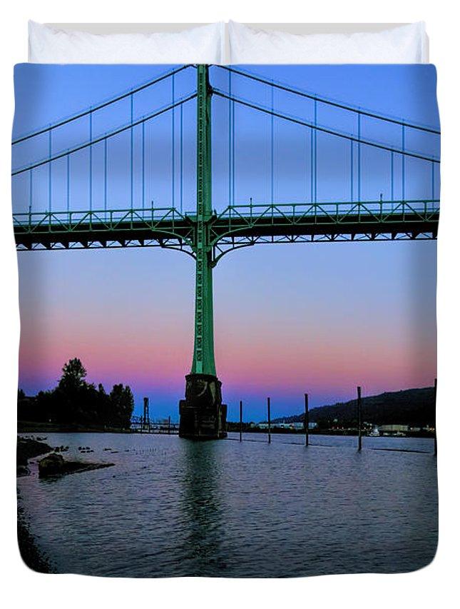 Bridges Duvet Cover featuring the photograph The St Johns Bridge by Thomas C Brown