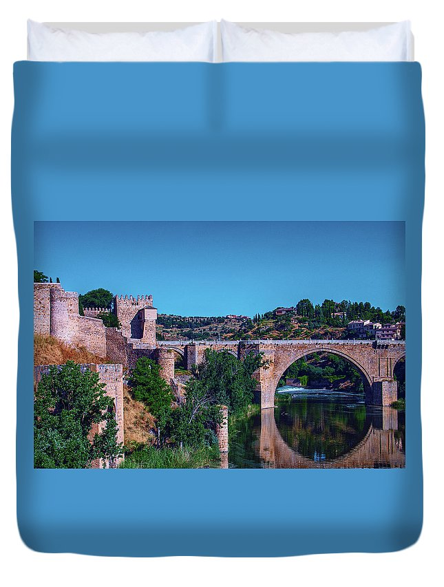 George Westermak Duvet Cover featuring the photograph The St. Martin Bridge Over The Tagus River In Toledo by George Westermak