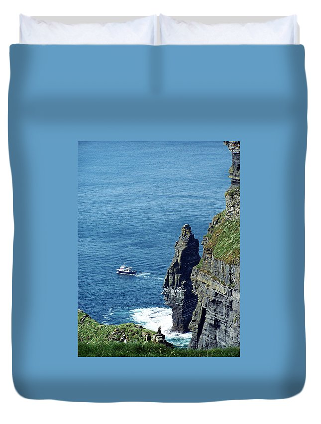 Irish Duvet Cover featuring the photograph The Stack And The Jack B Cliffs Of Moher Ireland by Teresa Mucha