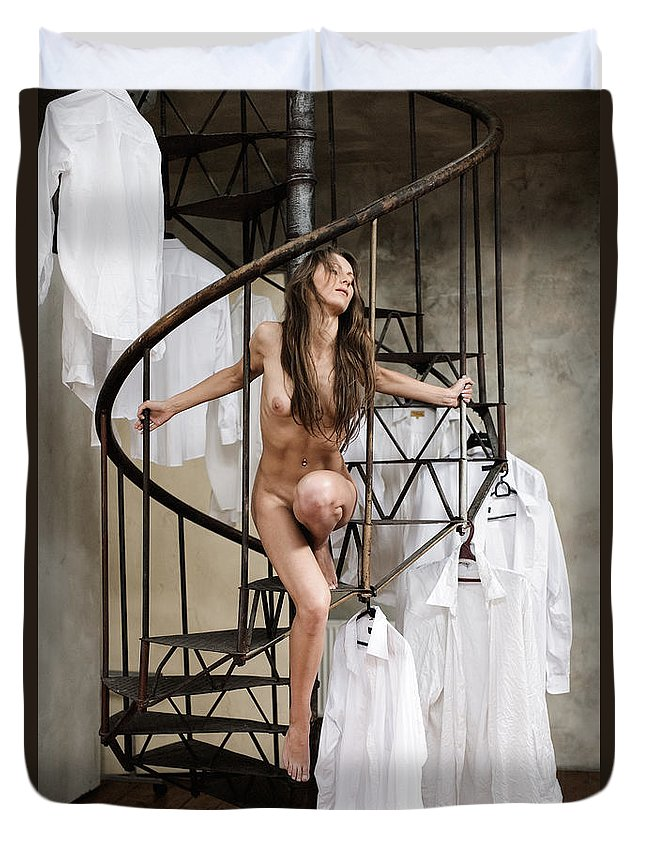 Sensual Duvet Cover featuring the photograph The Stairs by Olivier De Rycke