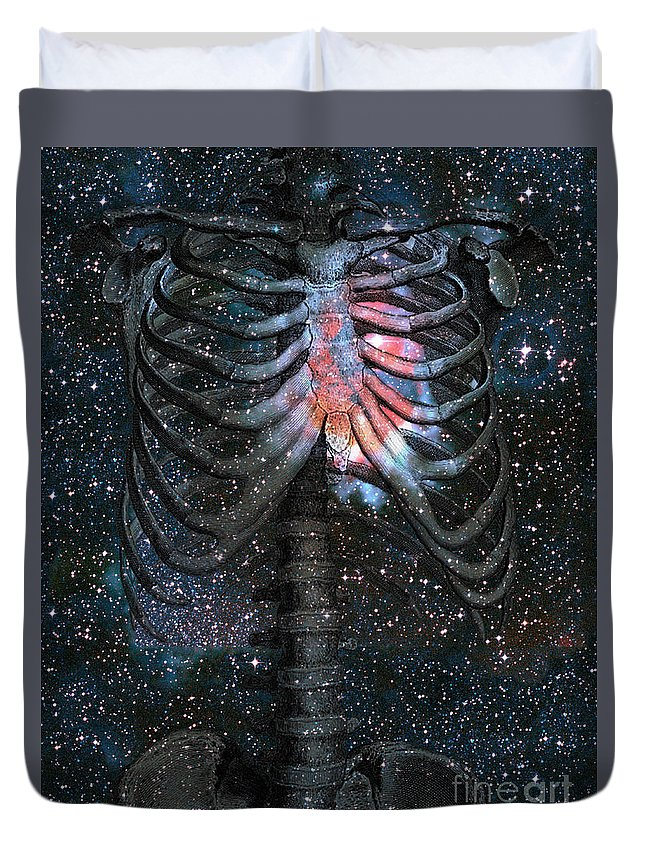 starbound Heart Duvet Cover featuring the digital art The Starbound Heart I by Kenneth Rougeau