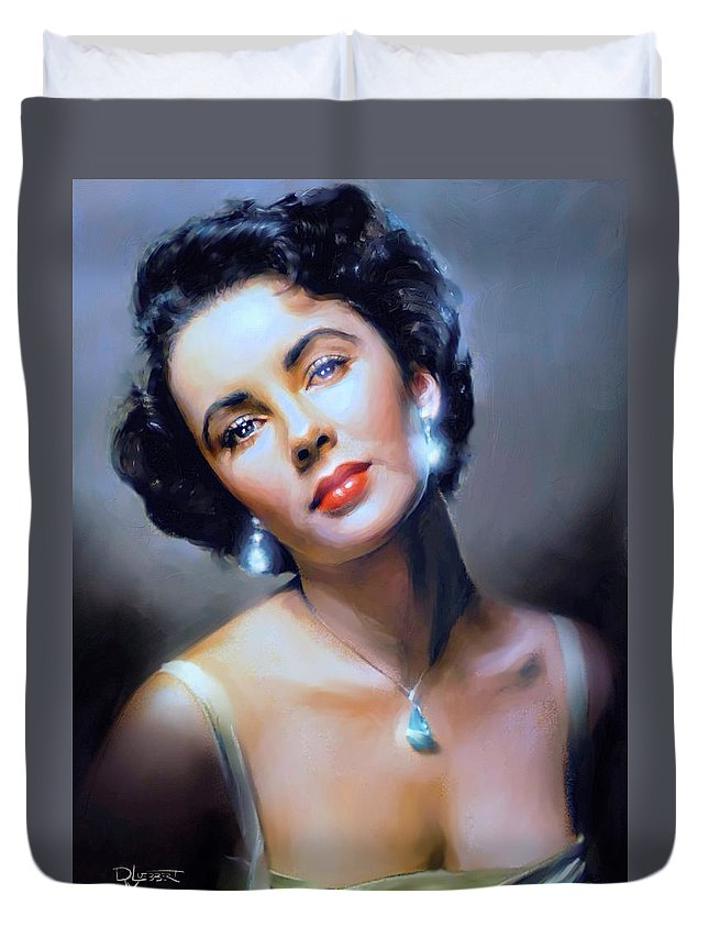 Liz Taylor Duvet Cover featuring the painting The Starlet by Dave Luebbert