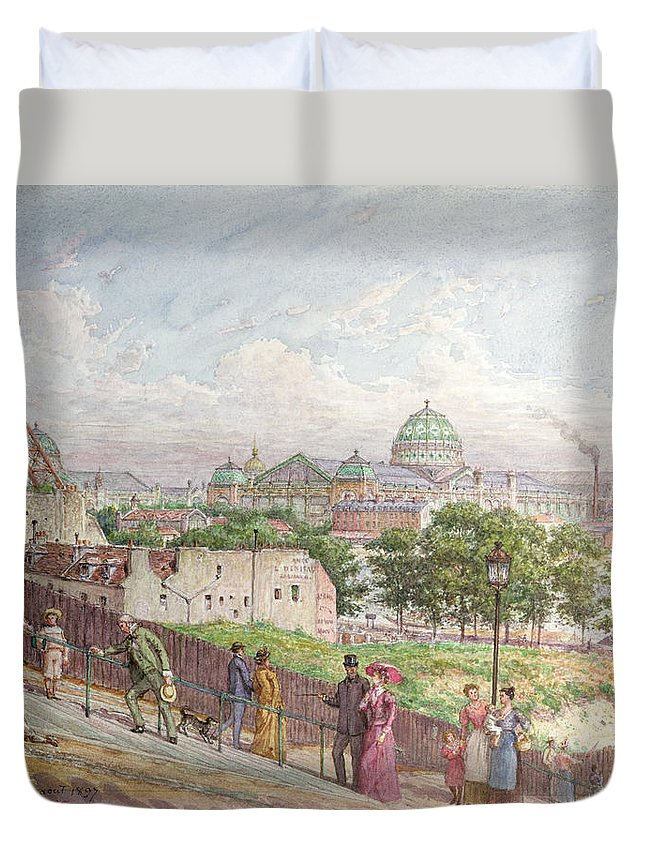 The Duvet Cover featuring the painting The Steps At The Rue Alboni by Arnaud Durbec