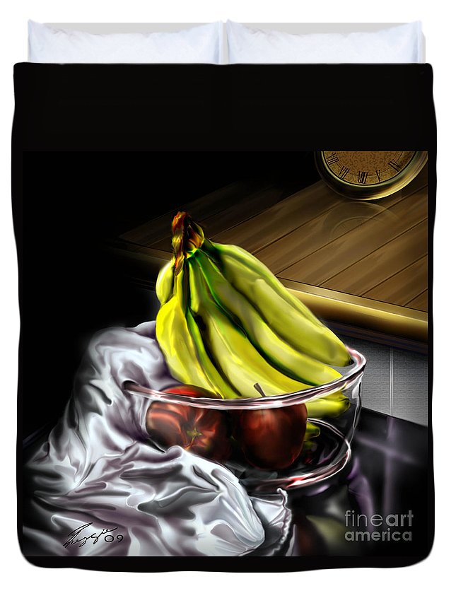 Still Life Painting Duvet Cover featuring the painting The Still Of Peace by Reggie Duffie