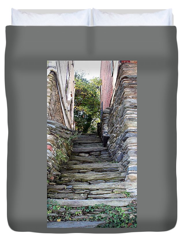 Stone Duvet Cover featuring the photograph The Stone Stairs by Rebecca Smith