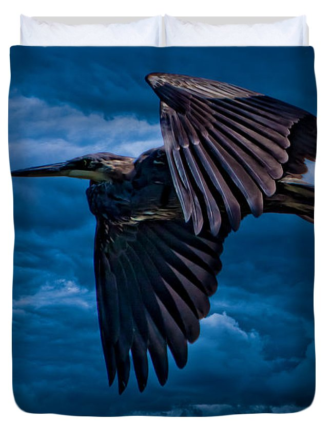Gray Duvet Cover featuring the photograph The Stormbringer by Chris Lord