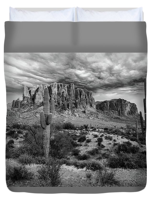 B&w Duvet Cover featuring the photograph The Stormy Superstitions by Jack Sassard
